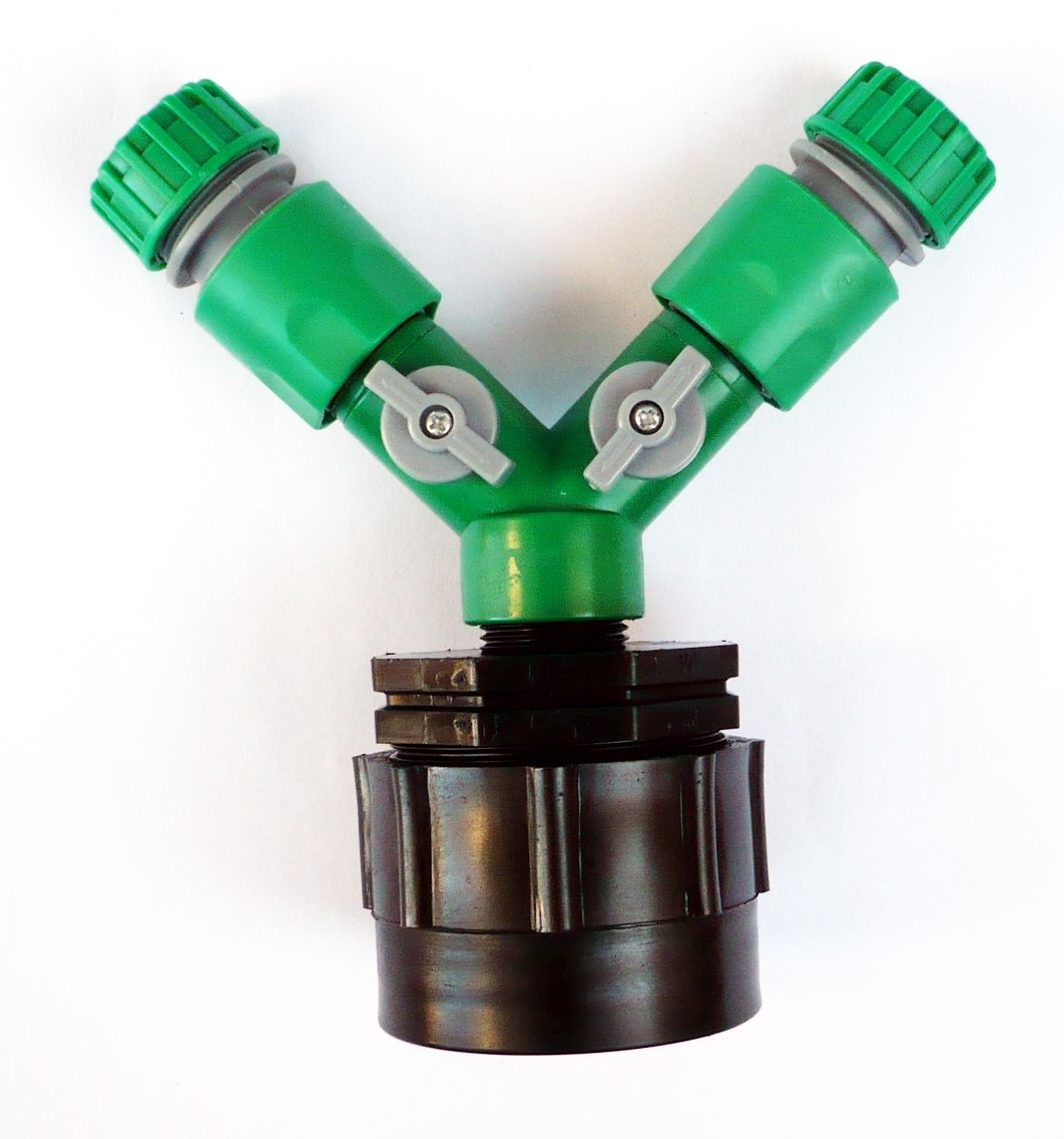 garden hose fittings. IBC Adapter (HD) To TWIN 1/2\ Garden Hose Fittings